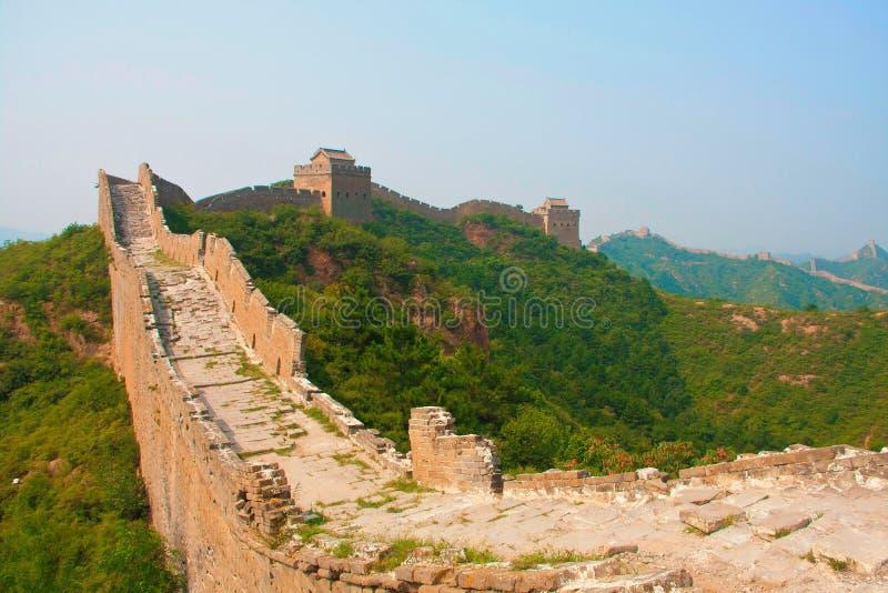 Treking en het lopen van de Grote Muur Peking, China stock afbeelding