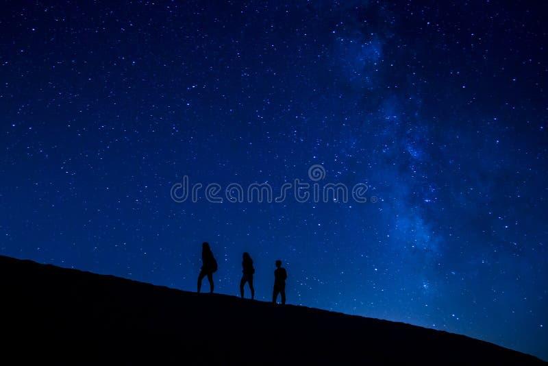Treking at night stock photography