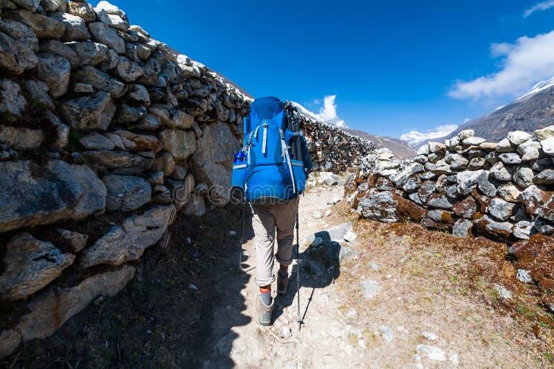 Trekker που πλησιάζει το πέρασμα Λα Renjo σε έναν τρόπο στο στρατόπεδο βάσεων Everest στοκ εικόνες με δικαίωμα ελεύθερης χρήσης