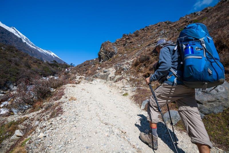 Trekker που πλησιάζει το πέρασμα Λα Renjo σε έναν τρόπο στο στρατόπεδο βάσεων Everest στοκ εικόνα με δικαίωμα ελεύθερης χρήσης