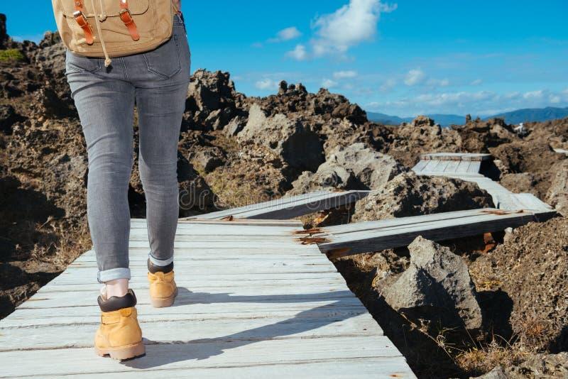 Trekker женщины идя на путь деревянной доски стоковое изображение
