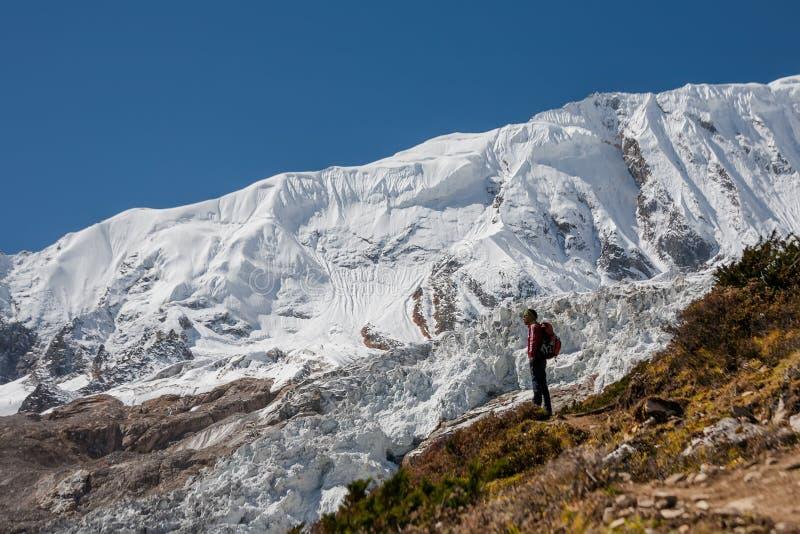 Trekker перед ледником Manaslu на треке цепи Manaslu в n стоковая фотография