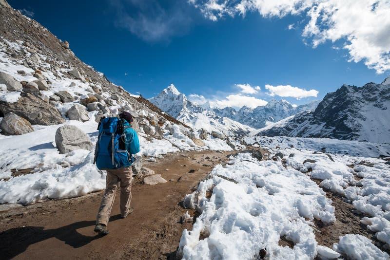 Trekker причаливая держателю Amadablan в долине Khumbu на пути к стоковое фото