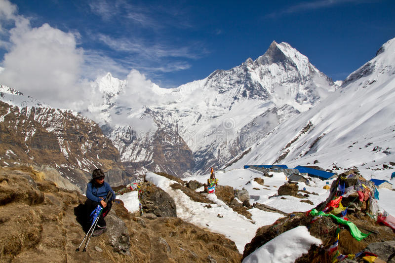 Trekker above Annapurna Basecamp. A trekker resting in the sun just above Annapurna Basecamp royalty free stock image