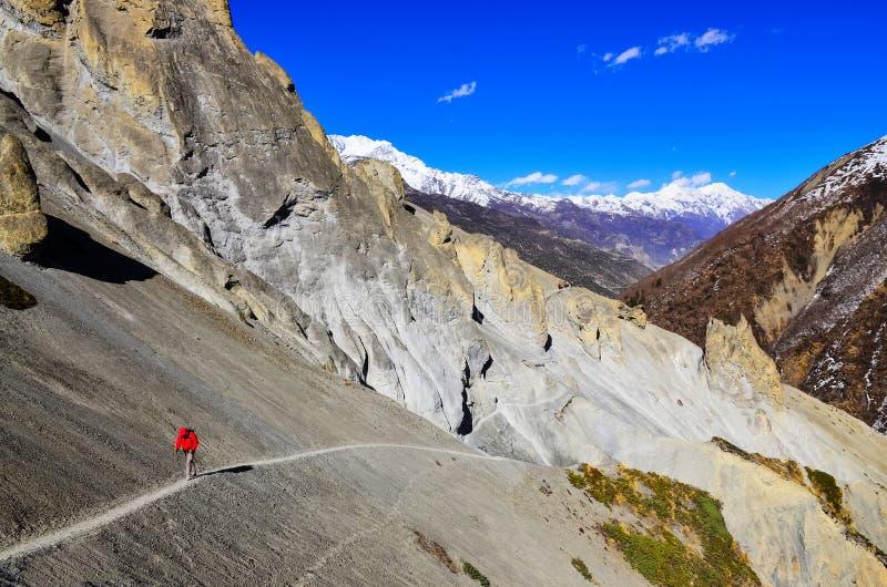 Trekker dans la veste rouge en montagnes de l'Himalaya photo libre de droits