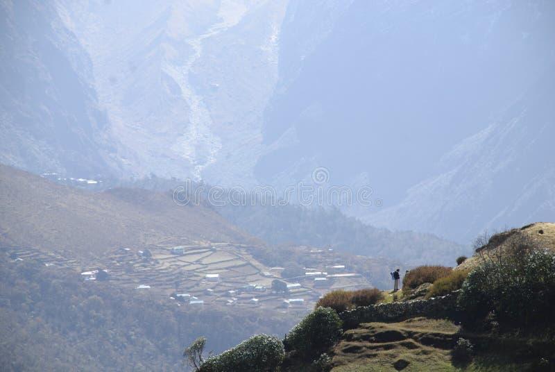 Trekker Everest Himalaya Népal photo libre de droits