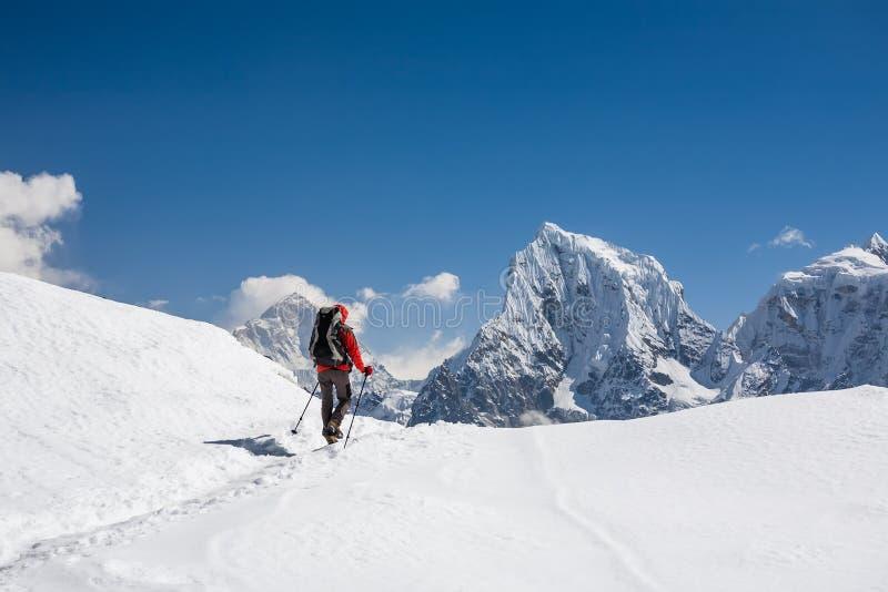 Trekker loopt door Renjo La pas in Everest-gebied stock afbeelding
