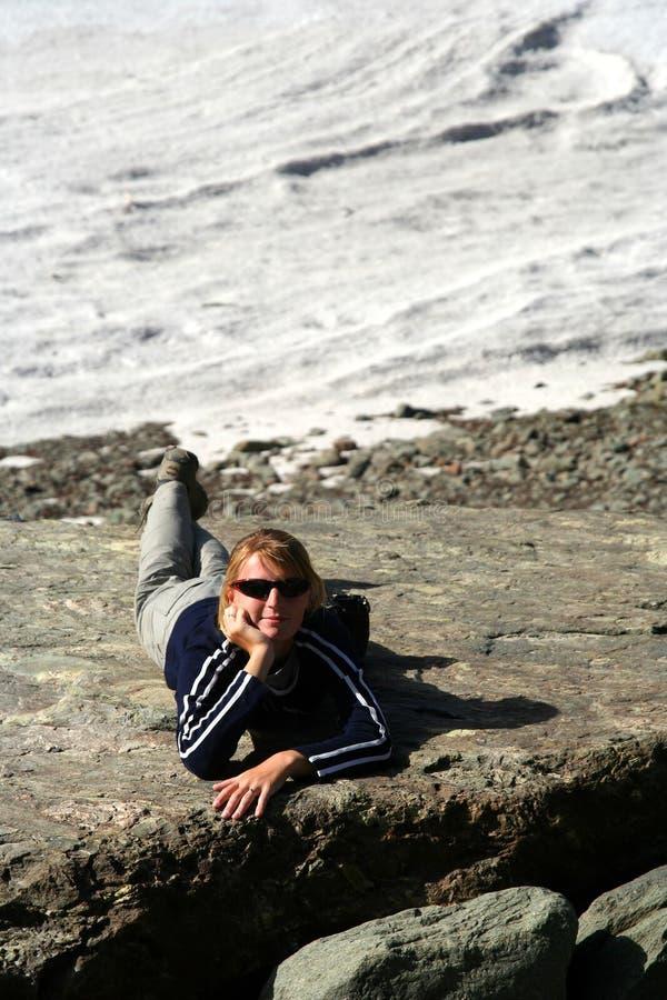 Trekker que relaxa fotos de stock royalty free