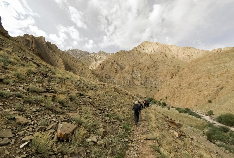 Trekkers на следе в индийских Гималаях стоковые фото