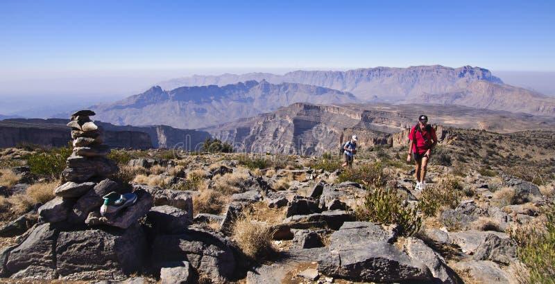Trekkers on Approach Route to Jabal Shams stock image