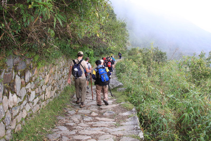 Trekkers auf der Inka-Spur, die zu Machu Picchu geht stockfotografie