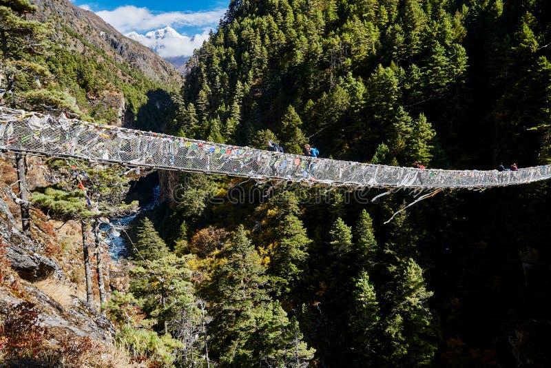 Trekkers auf hängender Hängebrücke des Seils lizenzfreie stockbilder