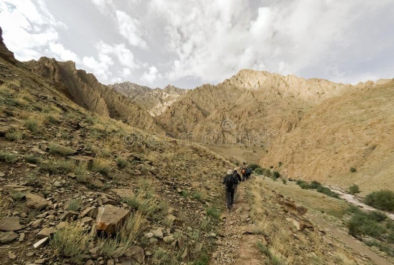 Trekkers en rastro en Himalaya indio fotos de archivo