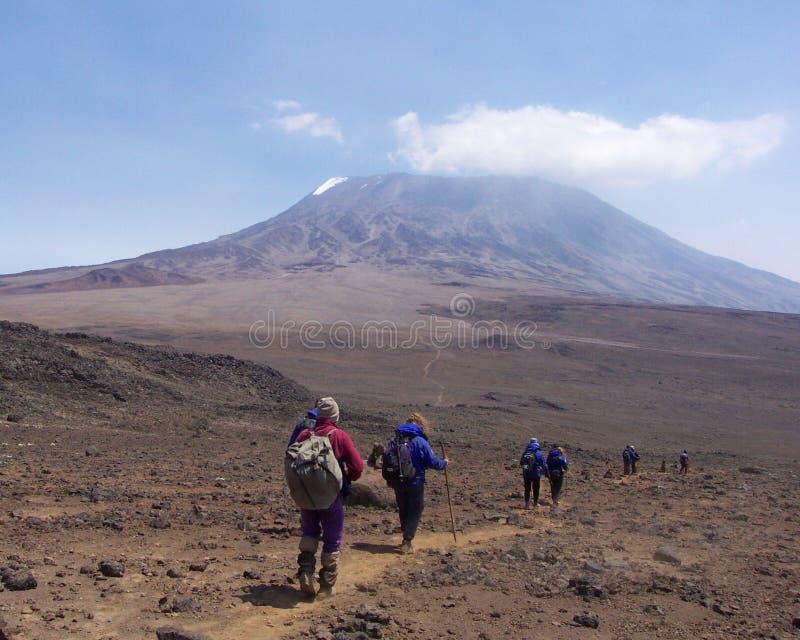 Trekkers in Kilimanjaro stock foto's