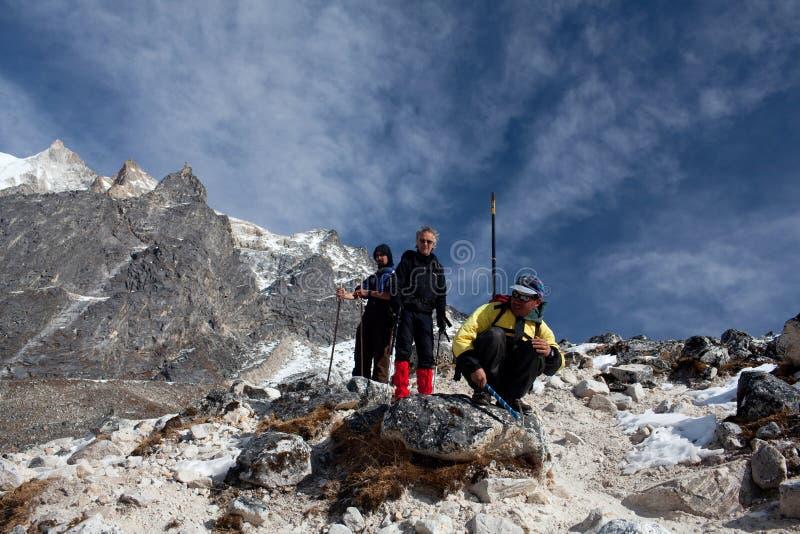 Trekkers on the Larke pass, Nepal Himalaya. Trekking in the Manaslu region stock image