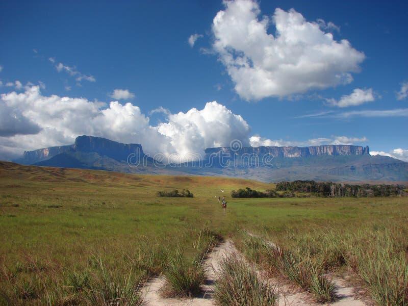 Trekkers marchant sur un itinéraire de trekking image libre de droits