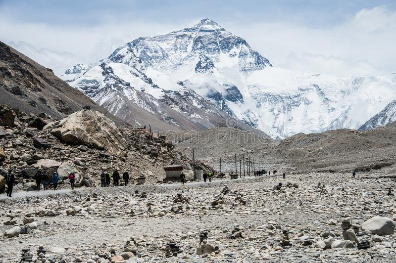 Trekkers at the North Face of Mount Everest Base Camp royalty free stock photo