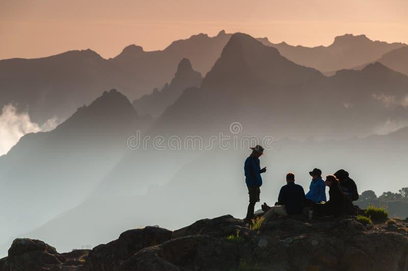 Trekkers on Shira plateau, Kilimanjaro stock photo