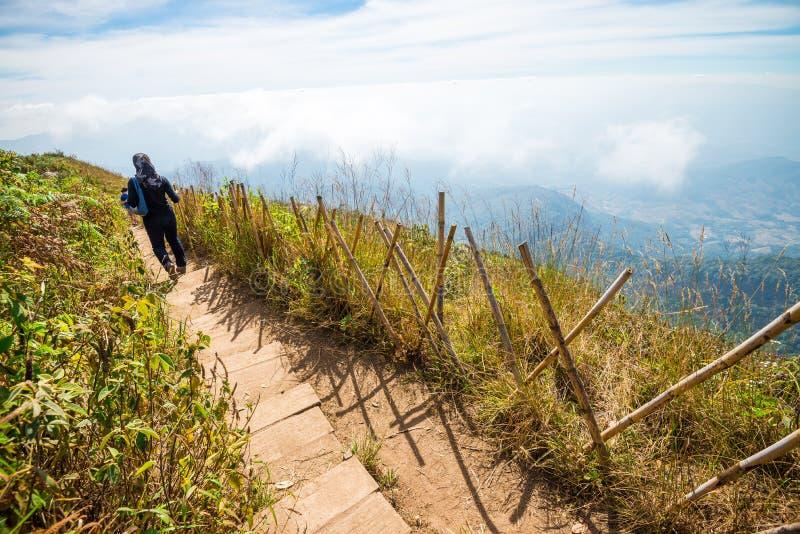 Trekking на красивом ландшафте горы с голубым небом в northe стоковая фотография rf