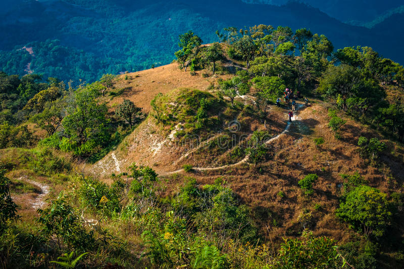 Trekking путь на горе в национальном парке Tak, Таиланде стоковые изображения rf