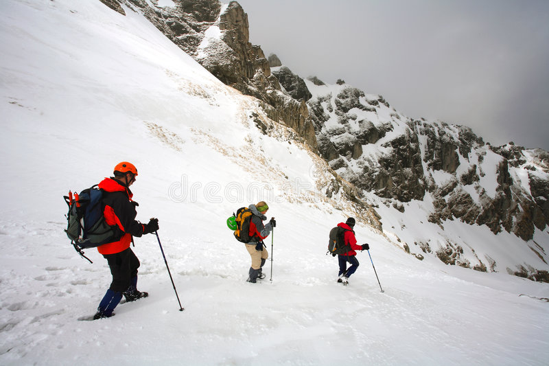 Trekking alpino imagem de stock