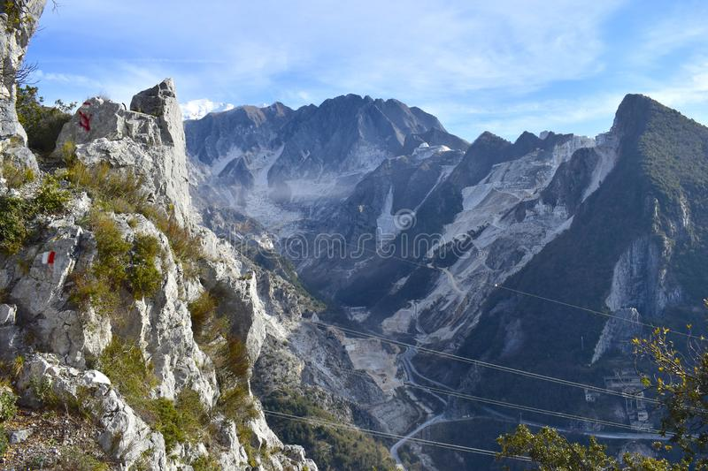 Trekking in the Apuane Alps Regional Park. Tuscany, Italy stock images