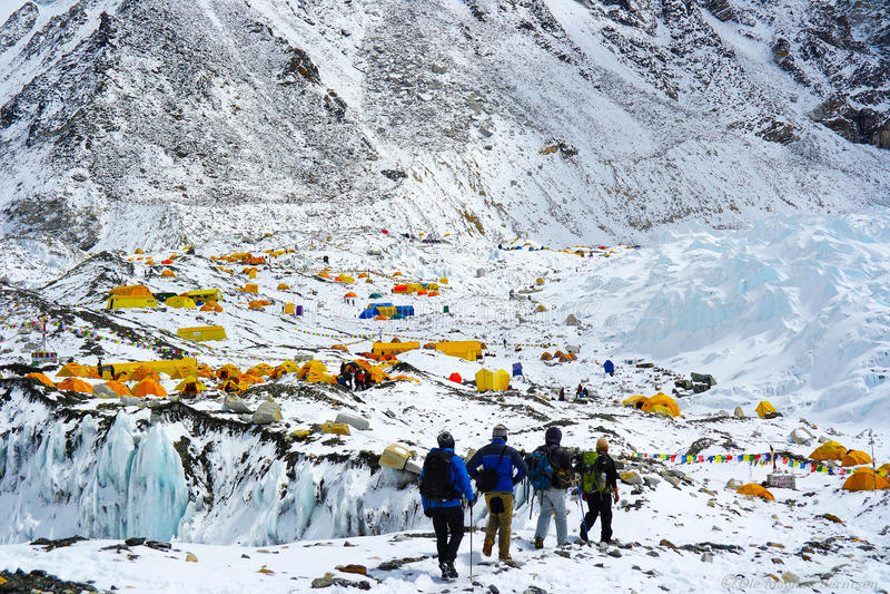Trekking au camp de base d'Everest photographie stock