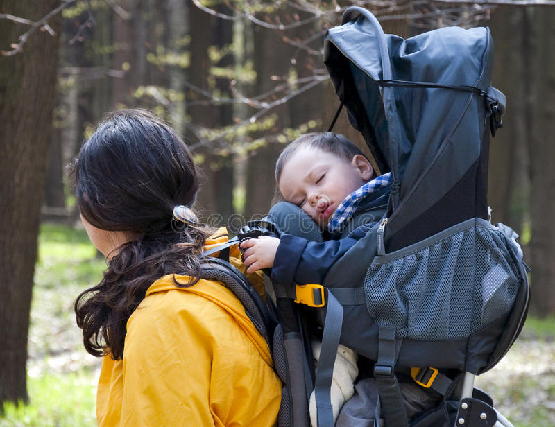 Trekking with a baby royalty free stock photos