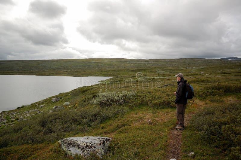 Trekking bij meer in hooggebergte stock afbeeldingen