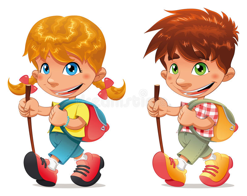 Trekking boy and girl. Funny and cartoon isolated characters