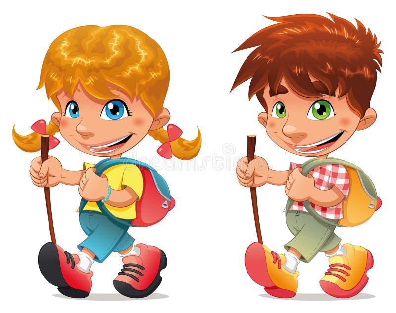 Download Trekking boy and girl. stock vector. Illustration of trekking - 14808437