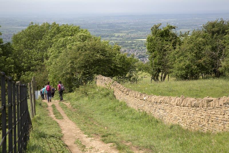 Trekking in Broadway bei Cotswolds; Worcestershire; England lizenzfreies stockbild
