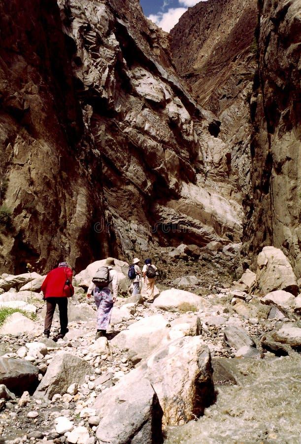 Trekking through Canyon stock photos