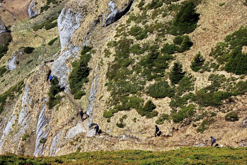 Trekking in Ciucas mountains stock photography