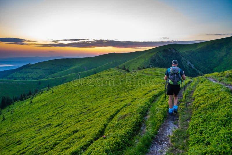 Trekking in  Ciucas Mountains, Romania stock photos