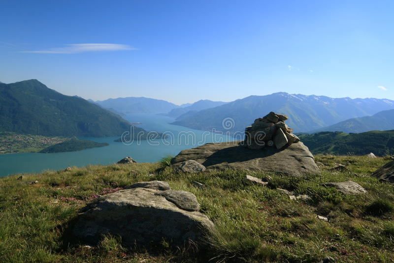 Trekking on Como Lake stock photography