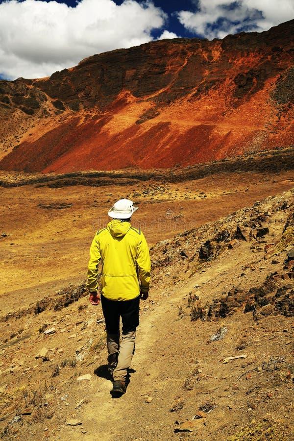 Trekking in Cordiliera Huayhuash stock photo