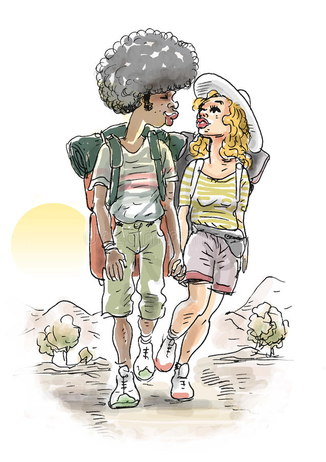 Download Trekking couple stock illustration. Image of ladies, affection - 23761690