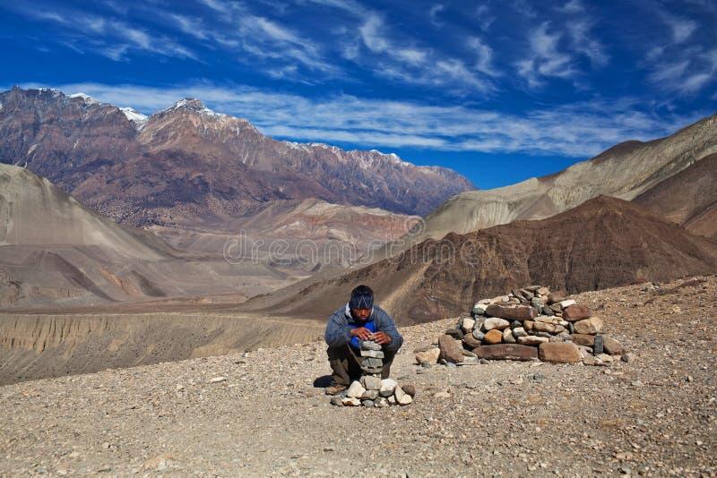 Trekking dans la région d'Annapurna, Népal photographie stock libre de droits