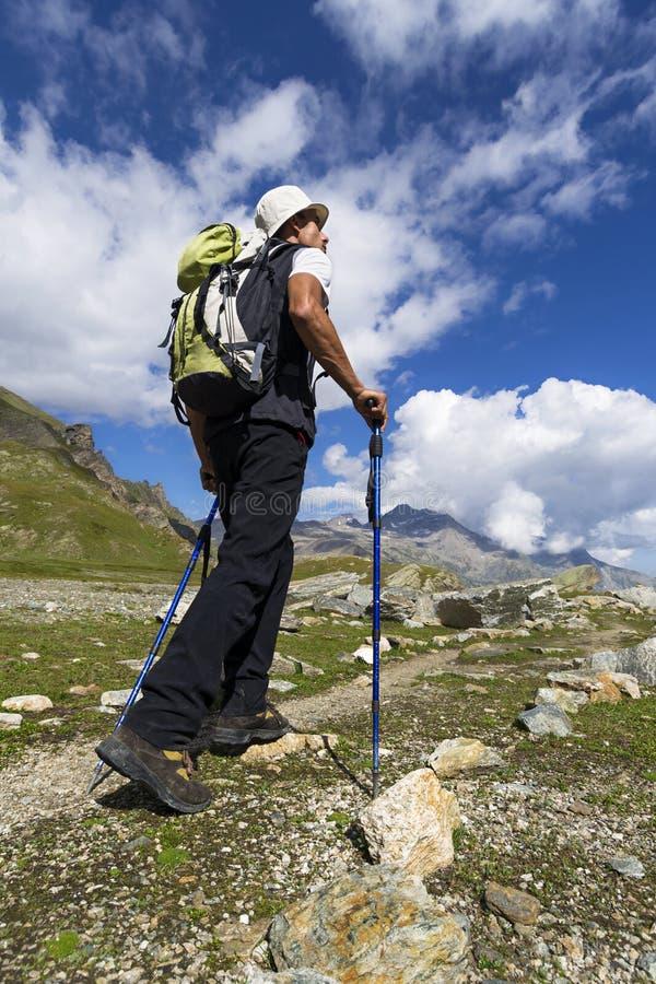 Trekking in de Alpen stock afbeeldingen