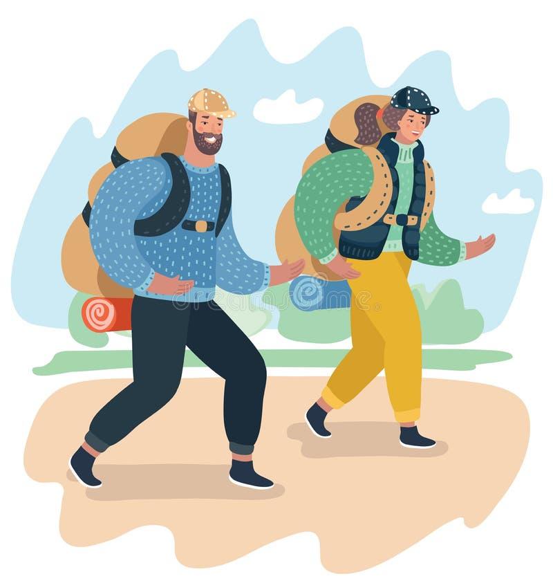 Trekking de couples en montagnes Hausse d'homme et de femme illustration de vecteur