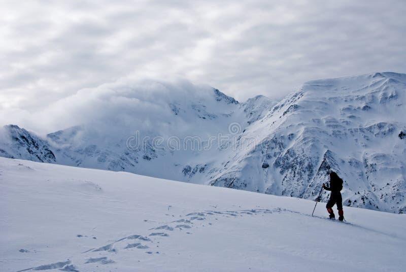 Trekking de l'hiver dans Fagaras photographie stock libre de droits