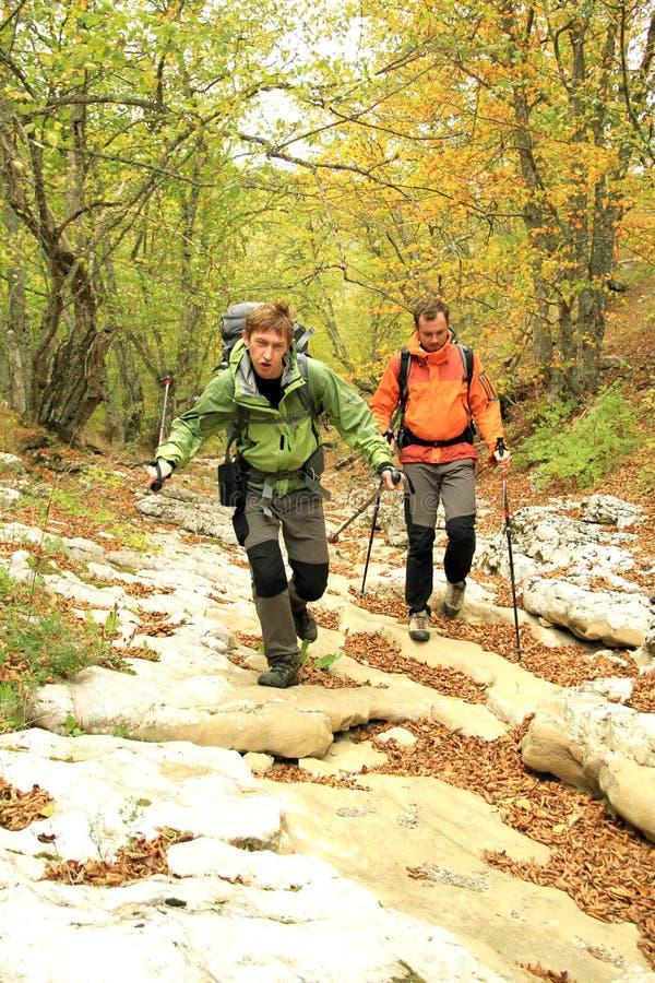 Trekking de randonneur dans les montagnes photographie stock
