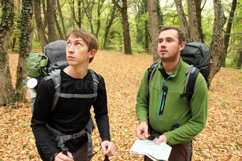 Trekking de randonneur dans les montagnes images libres de droits