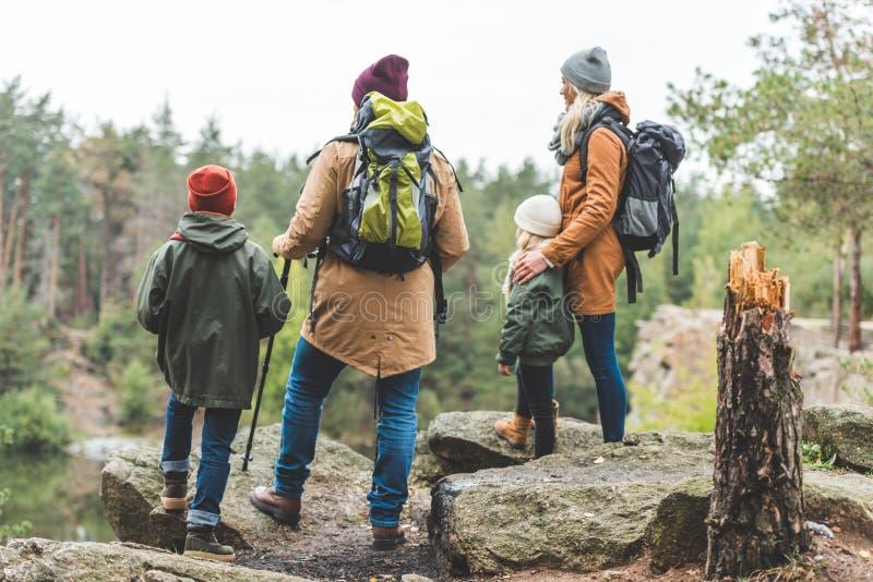 Trekking dei bambini e dei genitori in foresta fotografie stock