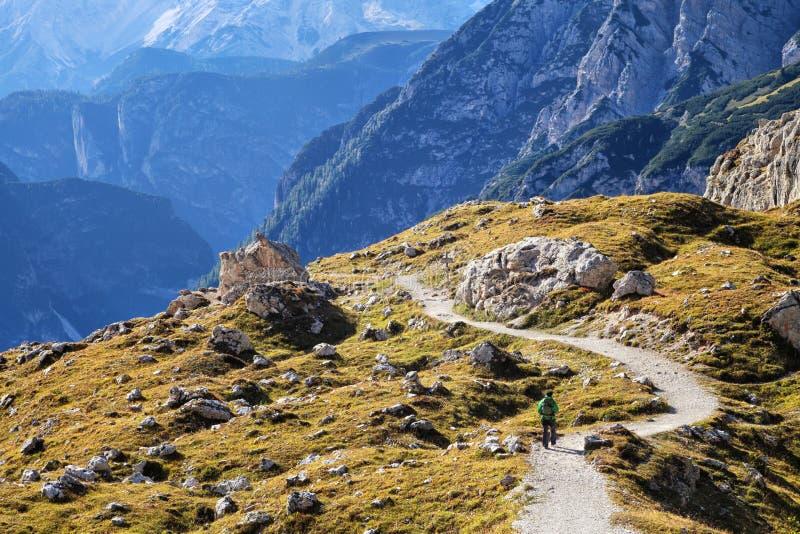 Trekking in dolomia, Italia immagine stock libera da diritti