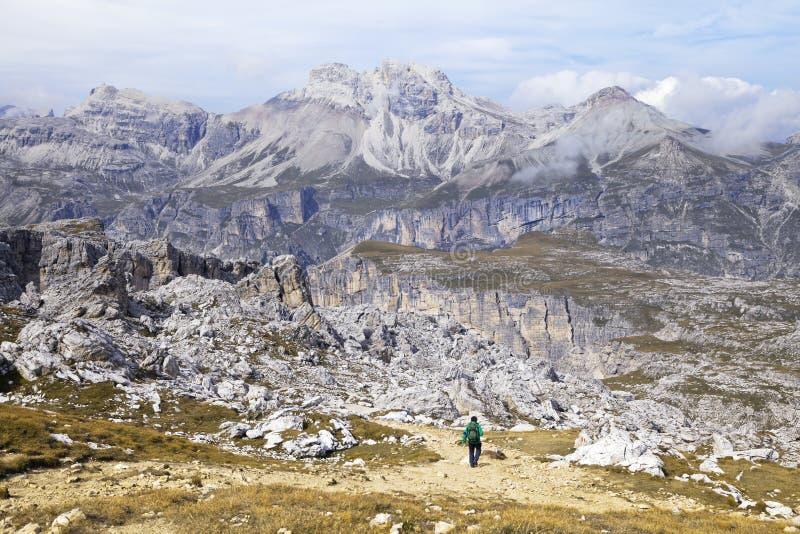 Trekking in dolomia, Italia fotografie stock libere da diritti
