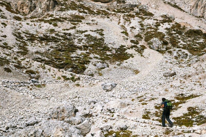 Trekking in dolomia, Italia fotografia stock libera da diritti