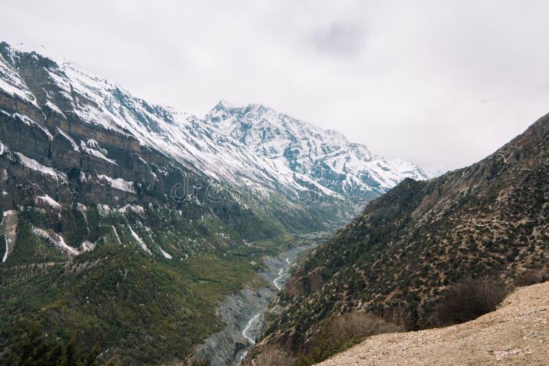 Trekking em Nepal, Himalayas, área da conservação de Annapurna imagens de stock royalty free
