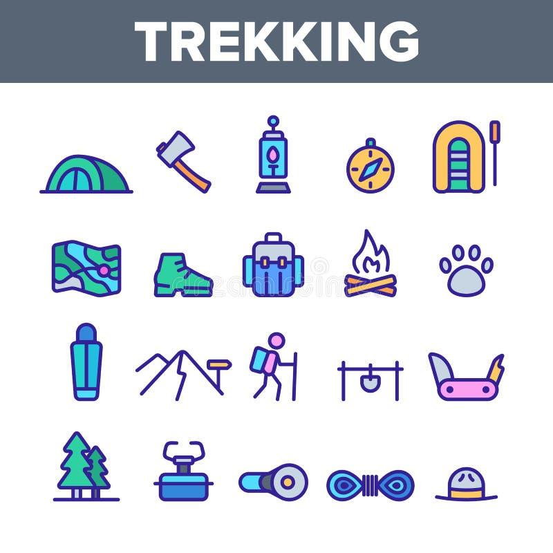 Trekking, ensemble linéaire d'icônes de vecteur de voyage de sac à dos illustration libre de droits